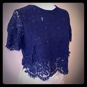 Tops - Navy blue crop top blouse (NWOT)